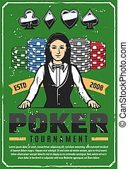 Poker tournament retro poster with female croupier