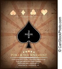 Poker tournament vector background in retro style