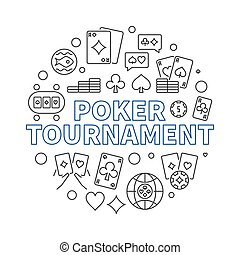 Poker Tournament vector concept outline circular illustration