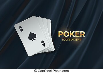 Poker tournament. Vector illustration. Four playing cards on black fabric background. Gambling concept