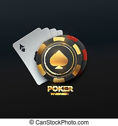 Poker tournament. Vector illustration. Four playing cards with gambling chips on black background. Casino banner concept.