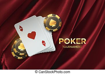 Poker tournament. Vector illustration. Four playing cards with gambling chips on velvet fabric background. Casino banner concept