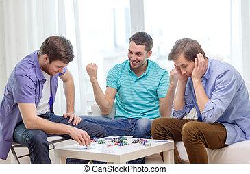 poker, tre, casa, maschio, amici, gioco, felice