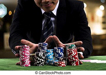 poker, utilisé, parier, pousser, tout, joueur, sien, mains, chips