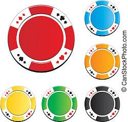 poker, vecteur, chips