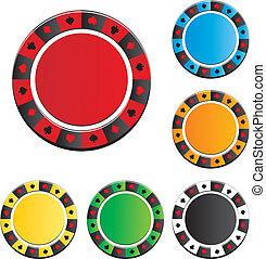 poker, vecteur, puce, ensembles