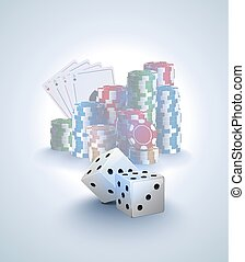 Poker vector background, stack of poker chips, ace cards on white background, two white dices on foreground. Gambling online casino light poster.