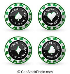 Poker vector icons - Set of poker vector icon with card...