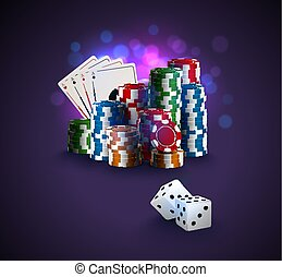 Poker vector illustration, stack of poker chips, ace cards on bokeh purple background, two white dices on foreground. Gambling online casino winner poster.