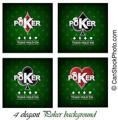 poker, vettore, set, fondo