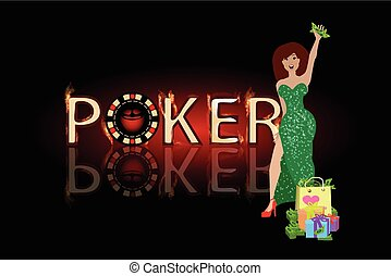 poker victory woman in a green dress