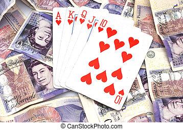 poker, vincente, contanti, mano
