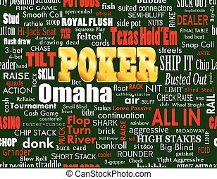Poker Word Cloud on Green