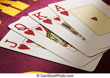 Pokercards - Pokerkarten - four Pokercards on red background...