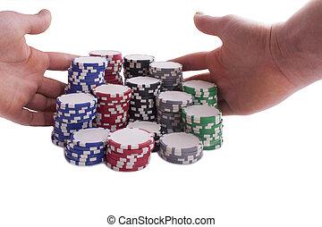 pokerchips, handen
