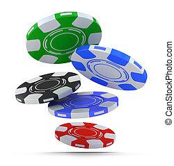 pokerchips, het vallen, fron, boven