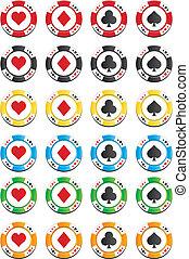 pokerchips, kleurrijke, stellen