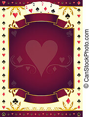 Pokergame heart red background