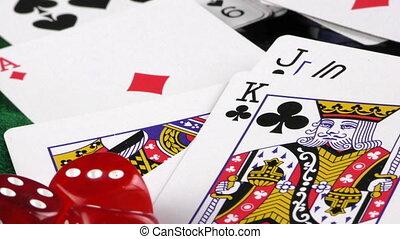 pokerwürfel, geld, karten, spielen chips, rotes