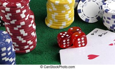 pokerwürfel, geld, span, karten, rotes
