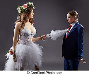 pokes, parapluie, gay, palefrenier, mariée, marriage., sexy