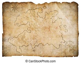 poklad, lodní mapovat, osamocený, patiskař, dávný