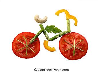 pokrojona zielenina, rower, kształt