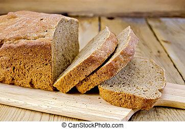 pokrojony, żyto, deska, swojski, bread