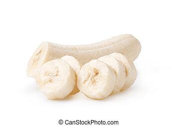 pokrojony, biały, banany, tło, świeżo