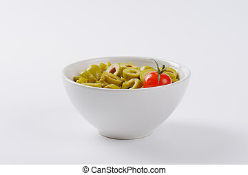 pokrojony, oliwki, zielony