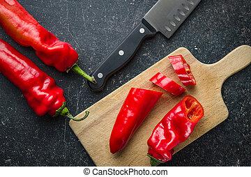 pokrojony, pepper., czerwony