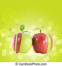 pokrojony, różny, kolor, jabłko