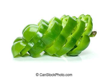 pokrojony, słodki pieprz, zielony