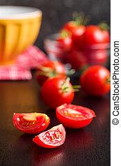 pokrojony, tomatoes., czerwony