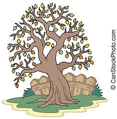 pokryte obficie liśćmi drzewo, płot