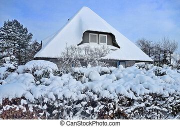 pokryty, śnieg, dach, poszywany
