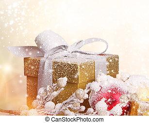 pokryty, gwiazdkowy dar, śnieg