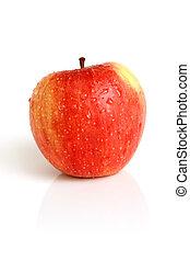 pokryty, krople, jabłko