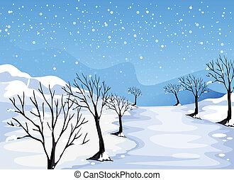 pokryty, miejsce, śnieg