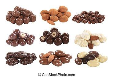 pokryty, owoc, orzechy laskowe, czekolada