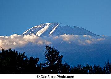 pokryty, stańcie kilimandżaro, śnieg