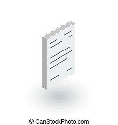 pokwitowanie, płaski, isometric, papier, wektor, icon., 3d