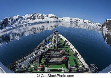 poláris, -, öböl, antarktisz, paradicsom, edény, kutatás
