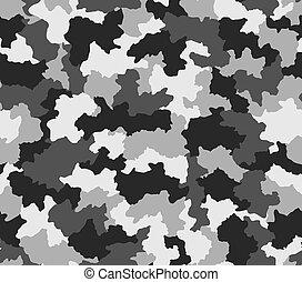polär, svartvitt, kamouflage, seamless, mönster