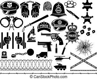 polícia, ícones, jogo