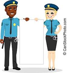polícia, bandeira, oficiais, segurando