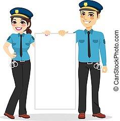 polícia, bandeira, segurando