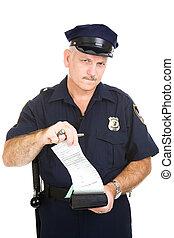 polícia, bilhete, oficial