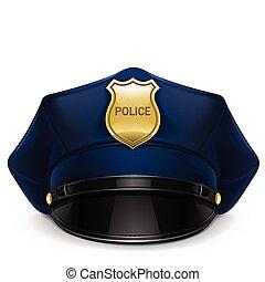 polícia, boné peaked, com, cockade