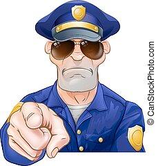 polícia, caricatura, apontar, homem